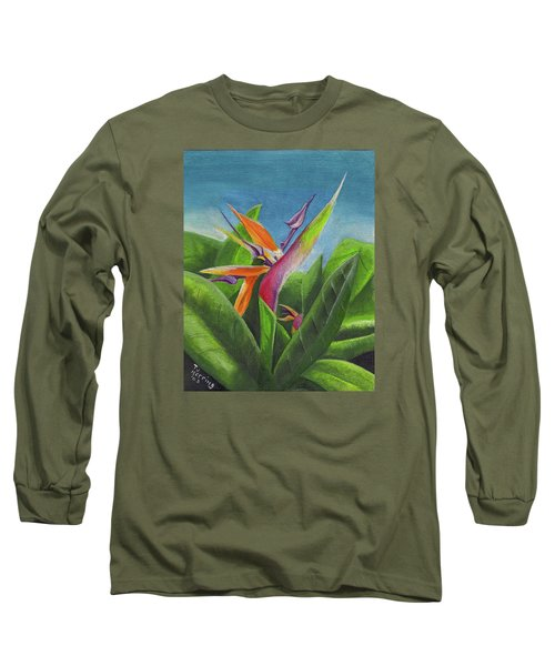 Long Sleeve T-Shirt featuring the painting Hawaiian Bird Of Paradise by Thomas J Herring