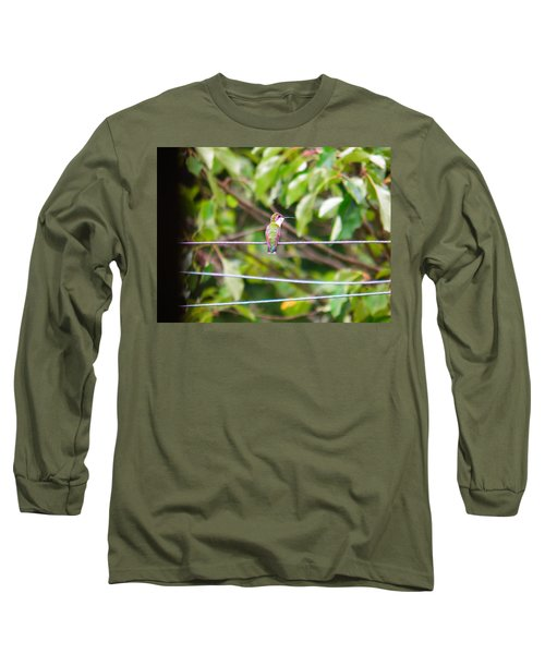 Long Sleeve T-Shirt featuring the photograph Bird On A Wire by Nick Kirby
