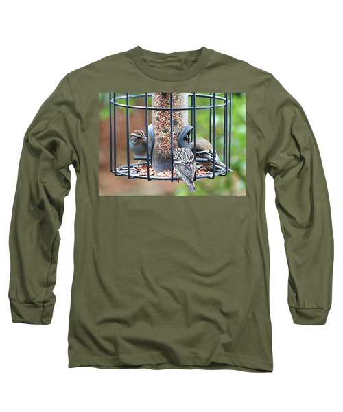 Birds At Lunch Long Sleeve T-Shirt by Ellen O'Reilly