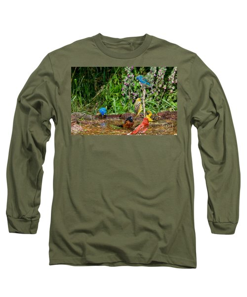 Birds Bathing Long Sleeve T-Shirt