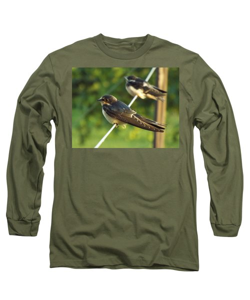 Birds On A Wire Long Sleeve T-Shirt by Caryl J Bohn