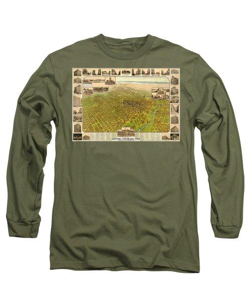 Birdseye Map Of Denver Colorado - 1908 Long Sleeve T-Shirt by Eric Glaser