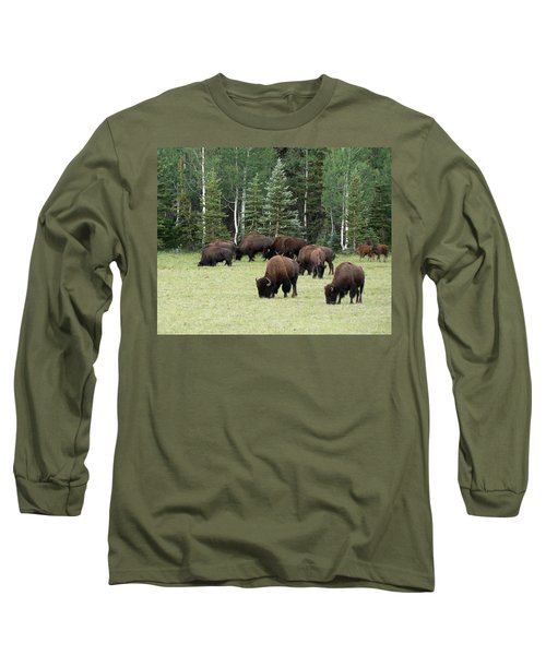 Bison At North Rim Long Sleeve T-Shirt by Laurel Powell