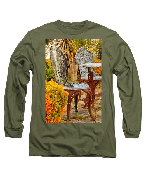 Bistro Table-color Long Sleeve T-Shirt by Loni Collins