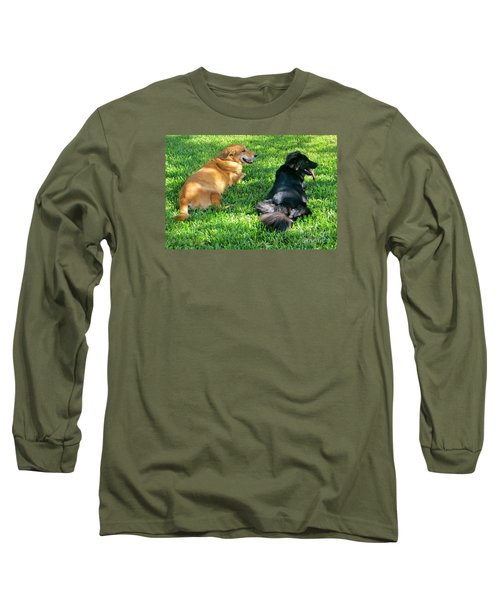 Black And Tan Long Sleeve T-Shirt by Joy Hardee