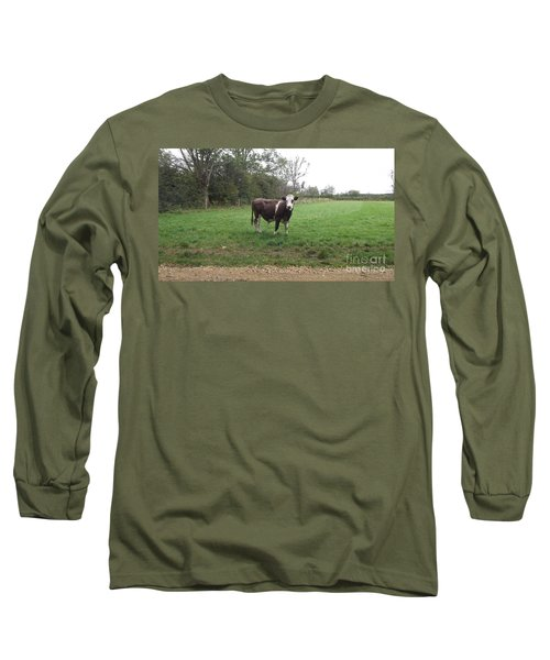 Black And White Bull Long Sleeve T-Shirt by John Williams