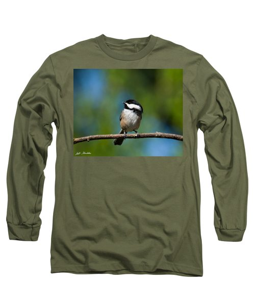Black Capped Chickadee Perched On A Branch Long Sleeve T-Shirt