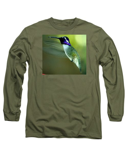 Long Sleeve T-Shirt featuring the photograph Black Chinned Male In Flight To Feeder by Jay Milo