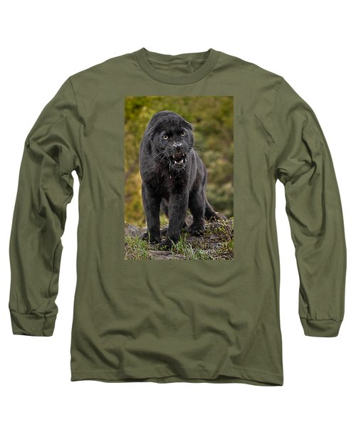 Black Panther Long Sleeve T-Shirt by Jerry Fornarotto