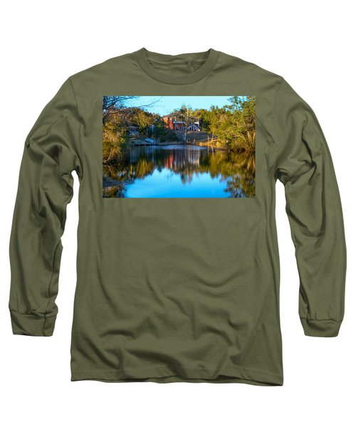 Black Water River In Blue Long Sleeve T-Shirt