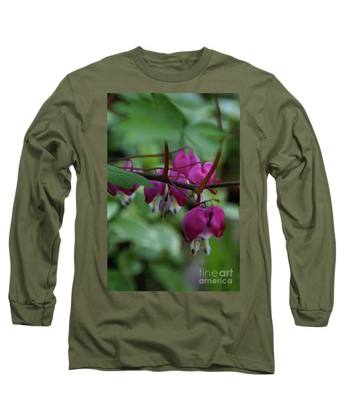 Bleeding Heart Long Sleeve T-Shirt by Linda Shafer