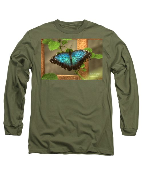 Blue And Black Butterfly Long Sleeve T-Shirt