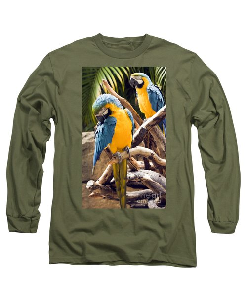 Blue And Yellow Macaw Pair Long Sleeve T-Shirt