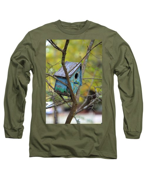 Long Sleeve T-Shirt featuring the photograph Blue Birdhouse by Gordon Elwell