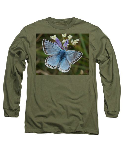 Long Sleeve T-Shirt featuring the digital art Blue Butterfly by Ron Harpham
