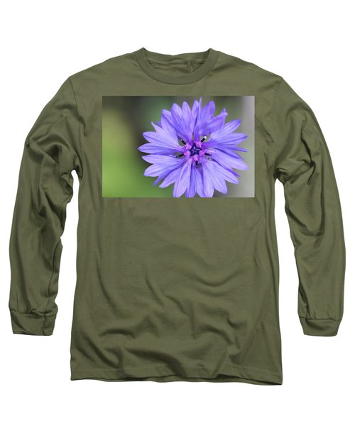 Blue Button Long Sleeve T-Shirt
