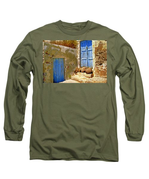 Blue Doors Of Santorini Long Sleeve T-Shirt