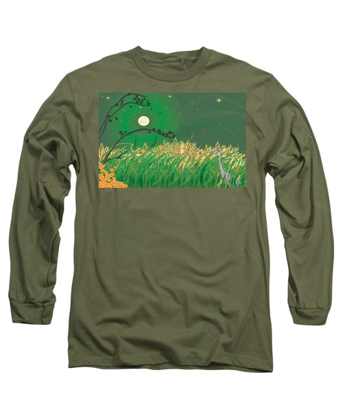 Blue Heron Grasses Long Sleeve T-Shirt