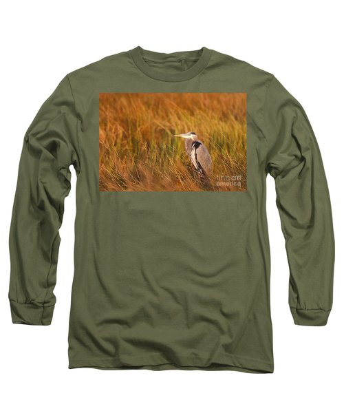 Long Sleeve T-Shirt featuring the photograph Blue Heron In Louisiana Marsh by Luana K Perez