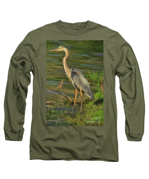 Blue Heron On The Bank Long Sleeve T-Shirt