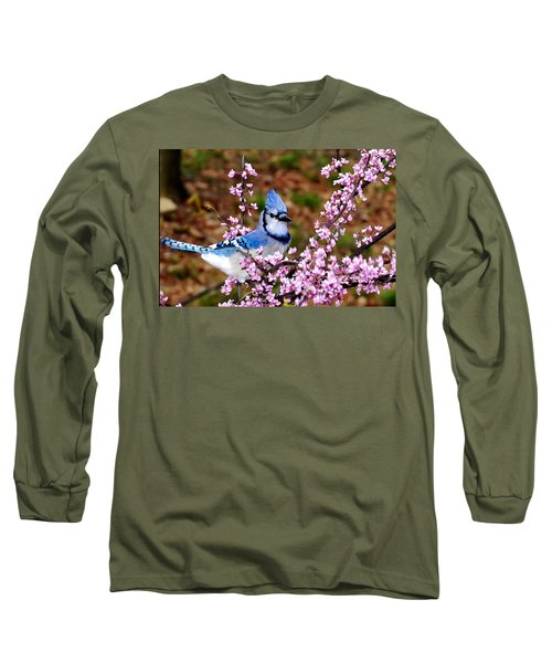 Blue Jay In The Pink Long Sleeve T-Shirt