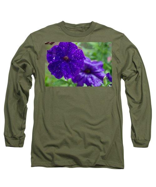 Blue Pansies After A Rain Long Sleeve T-Shirt