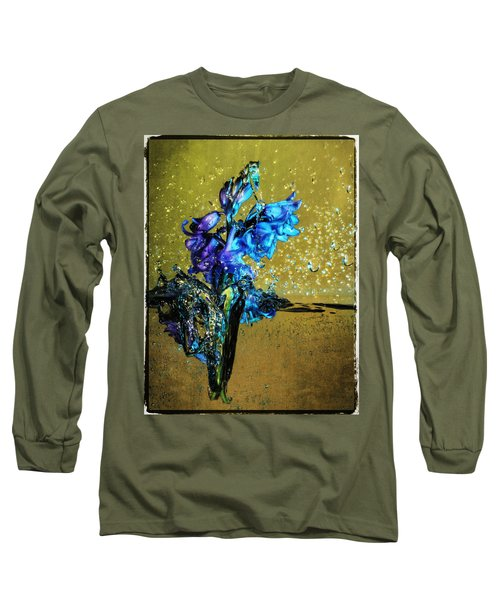 Long Sleeve T-Shirt featuring the mixed media Bluebells In Water Splash by Peter v Quenter