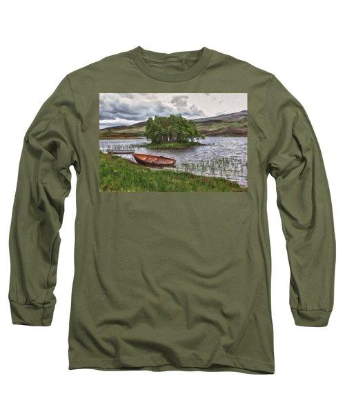 Boat On Lake Bank 1929 Long Sleeve T-Shirt