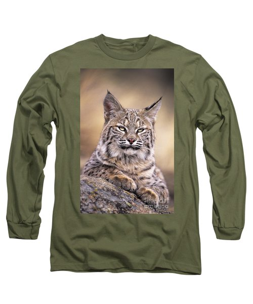 Bobcat Cub Portrait Montana Wildlife Long Sleeve T-Shirt by Dave Welling
