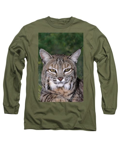 Bobcat Portrait Wildlife Rescue Long Sleeve T-Shirt by Dave Welling