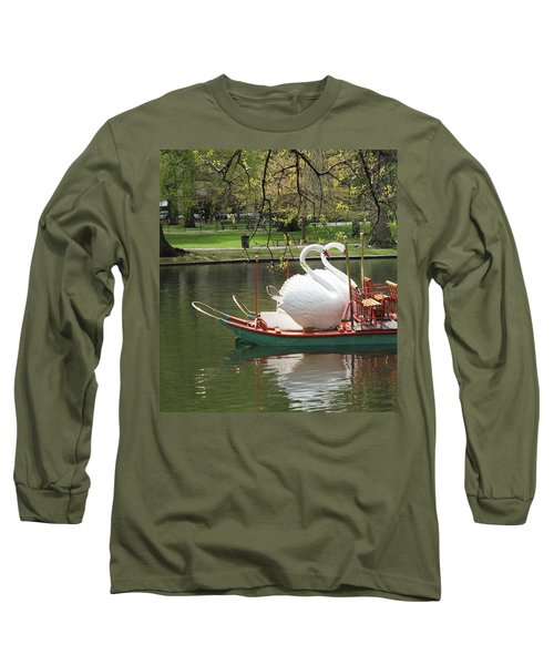 Long Sleeve T-Shirt featuring the photograph Boston Swan Boats by Barbara McDevitt