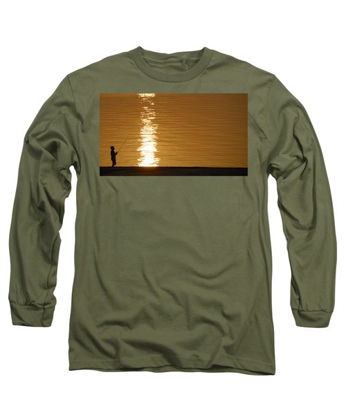 Boy Fishing At Sunset Long Sleeve T-Shirt