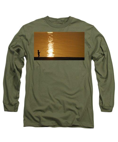 Boy Fishing At Sunset Long Sleeve T-Shirt by Charles Beeler