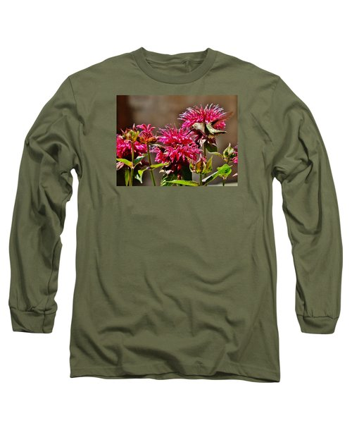 Long Sleeve T-Shirt featuring the photograph Breakfast At The Bee Balm by VLee Watson