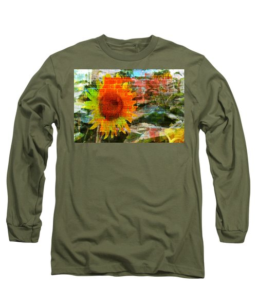 Bricks And Sunflowers Long Sleeve T-Shirt