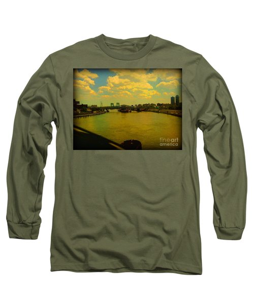 Long Sleeve T-Shirt featuring the photograph Bridge With Puffy Clouds by Miriam Danar