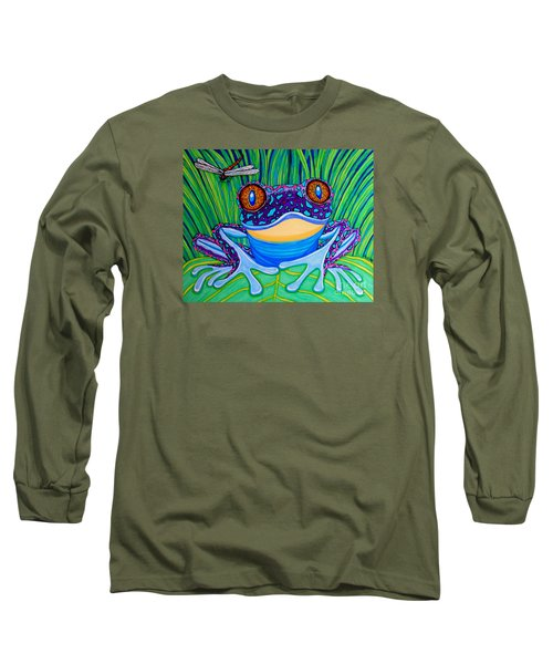 Bright Eyed Frog Long Sleeve T-Shirt by Nick Gustafson