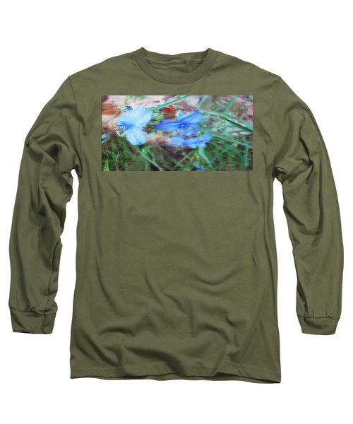 Long Sleeve T-Shirt featuring the photograph Brilliant Blue Flowers by Cathy Anderson