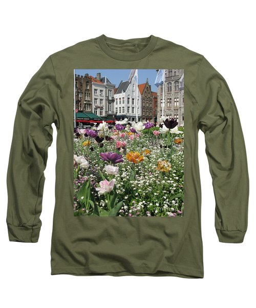 Long Sleeve T-Shirt featuring the photograph Brugge In Spring by Ausra Huntington nee Paulauskaite