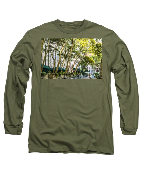 Bryant Park Midtown New York Usa Long Sleeve T-Shirt by Liz Leyden