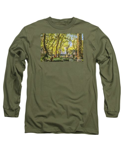 Bryant Park October Morning Long Sleeve T-Shirt by Liz Leyden