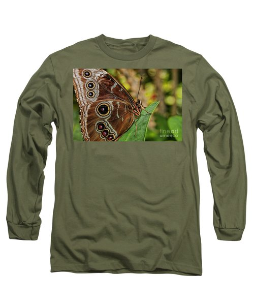 Long Sleeve T-Shirt featuring the photograph Blue Morpho Butterfly by Olga Hamilton