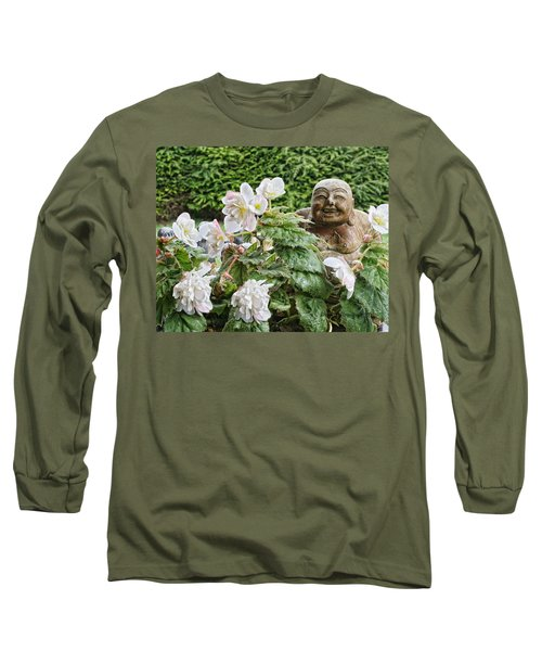 Long Sleeve T-Shirt featuring the photograph Budda And Begonias by Denise Romano