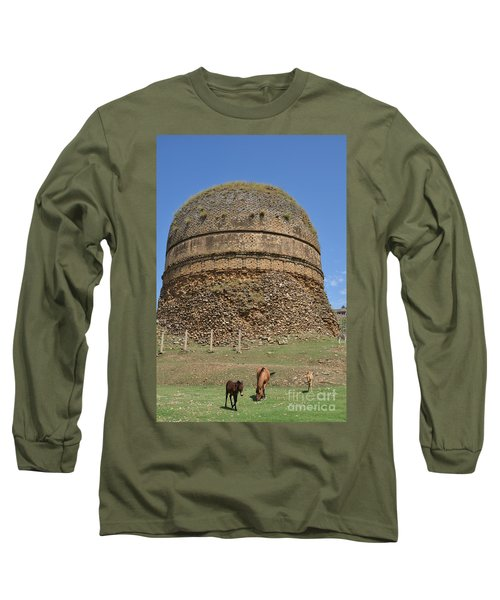 Buddhist Religious Stupa Horse And Mules Swat Valley Pakistan Long Sleeve T-Shirt by Imran Ahmed