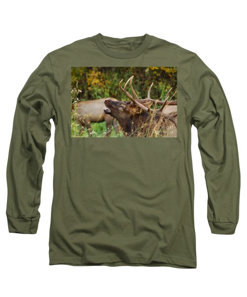 Bugling Bull Elk Long Sleeve T-Shirt by Patrick Shupert