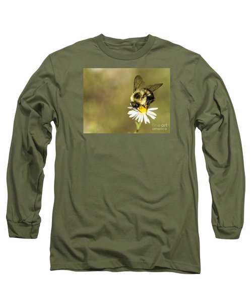 Bumble Bee Macro Long Sleeve T-Shirt by Debbie Green