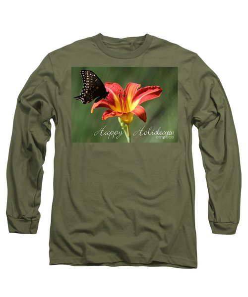 Butterfly And Lily Holiday Card Long Sleeve T-Shirt