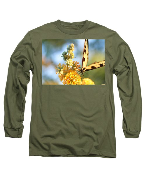 Long Sleeve T-Shirt featuring the photograph Butterfly At Work by Trina  Ansel