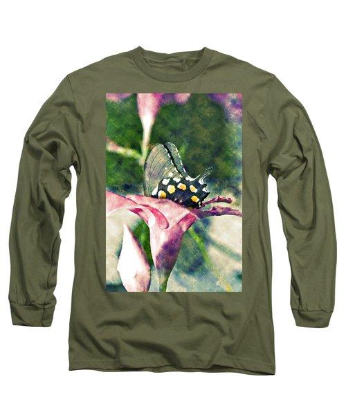 Butterfly In Flower Long Sleeve T-Shirt by Susan Leggett
