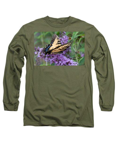 Butterfly Landing Long Sleeve T-Shirt by Greg Graham